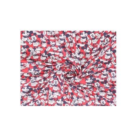 Tela patchwork 100% Algodon Mickey Mouse World Rojo 1,50m. Ancho  Venta de 10 en 10cm