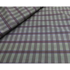 Tela algodón para patchwork Cuadros Azul y Naranja sobre fondo beis. Anchura 1,10 cm.  Las telas se venden de 10 en 10 cm.