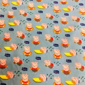Tela patchwork 100% Algodon Peppa Pig 1,50m. Ancho  Venta de 10 en 10cm
