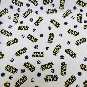 Tela patchwork 100% Algodon Logo Star Wars Anchura 1,50m. Venta de 10 en 10cm