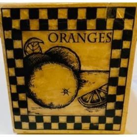 Sello De Madera Naranjas 9x9cm