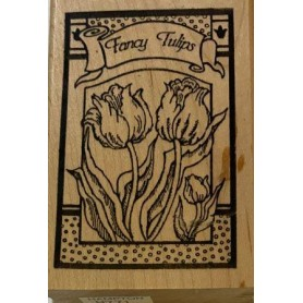 Sello De Madera Fancy Tulips 5,3x8,3cm