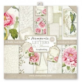 Colección Letters and Flowers Scrapbooking Stampería 30,5x30,5 cm