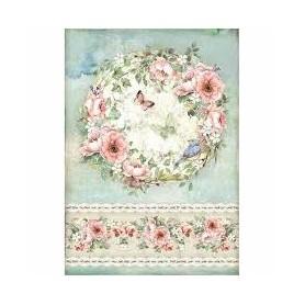 Papel de Arroz A4 Rosas y Mariposas Stampería