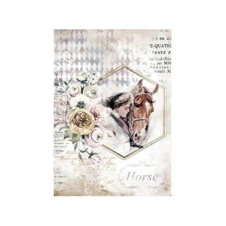 Papel de Arroz A4  Romantic Horses Mujer Marco