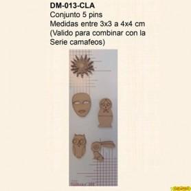 CONJUNTO SILUETAS 5 PINS VARIOS 3X3CM 4X4CM