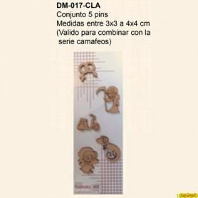 SILUETAS  SILUETAS CONJUNTO 5 PINS ANIMALES Y VESPA 3X3CM 4X4CM