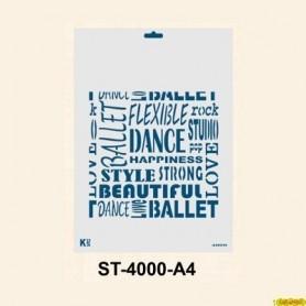 Plantilla Stencil DIN A4 Fondo Palabras Dance 210x297 mm