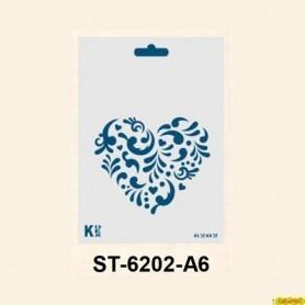 Plantilla Stencil DIN A6 Corazón Con guirnaldas 105x148´5 mm
