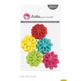 Flores caladas fieltro colores surtidos 3 cm 25 piezas