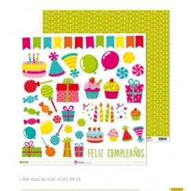 """Papel Scrapbooking  (30,5 x 30,5 cm) Anita y su Mundo """"Fiesta"""" libre de acidos y lignina"""