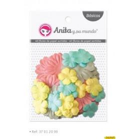 40 flores papel colores surtidos 10 unidades por color (gris, rosa 4,5 cm amarillo, azul 2 cm)