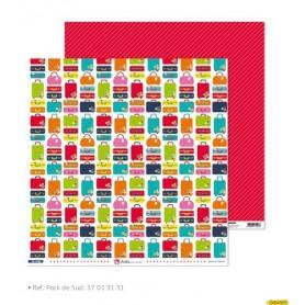 """Papel Scrapbooking  (30,5 x 30,5 cm) Anita y su Mundo """"De viaje"""" libre de acidos y lignina"""