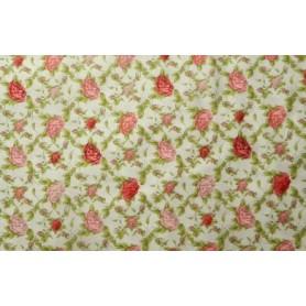 """Tela algodon para patchwork """"Coleccion Mirabelle, La vie en rose"""" rosas sobre fondo crema. Anchura 1,10 cm.  Cada 10 cm"""